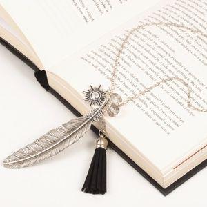 Boho Silver Feather Sun Tassel Pendant Necklace